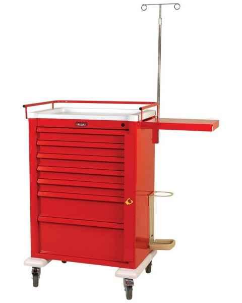 Harloff AL810B7-EMG Aluminum Universal Line Super Tall Emergency Cart 7 Drawer with Breakaway Lock & EMG Accessory Package