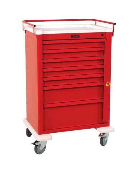Harloff AL810B7 Aluminum Universal Line Super Tall Emergency Cart 7 Drawer with Breakaway Lock