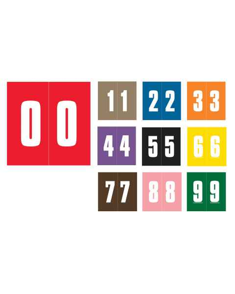 """AMES L-A-00178RLP Match AMNM Series Laminated Color-Coded Numeric Roll Labels - 1 7/8""""H x 1 7/8""""W"""