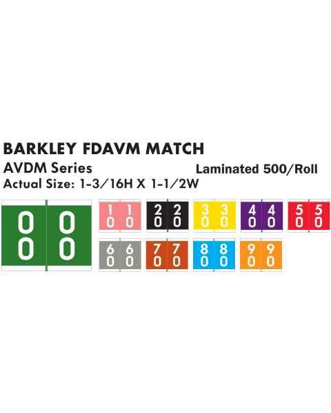 "Barkley FDAVM Match AVDM Series Double Digit Numeric Color Code Roll Labels - 1 3/16""H x 1 1/2""W"