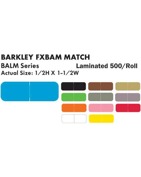 "Barkley FXBAM Match BALM Series Solid Color Roll Labels - 1/2""H x 1 1/2""W"
