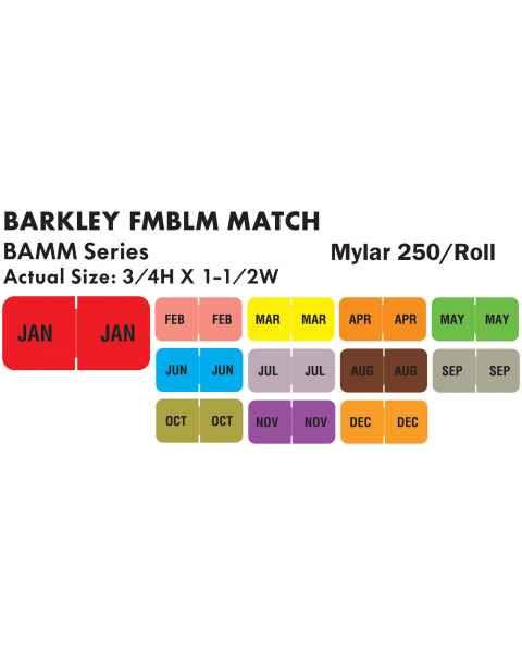 """Barkley FMBLM Match BAMM Series Month Code Roll Labels - 3/4""""H x 1 1/2""""W"""