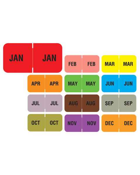 "Barkley FMBLM Match BAMM Series Month Code Roll Labels - 3/4""H x 1 1/2""W"