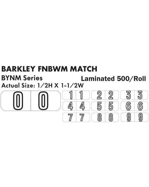 "Barkley FNBWM Match BYNM Series Numeric Laminated Roll Labels - 1/2""H x 1 1/2""W"