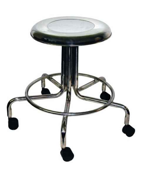 MRI Non-Magnetic Stainless Steel Stool with Dual Wheel Casters