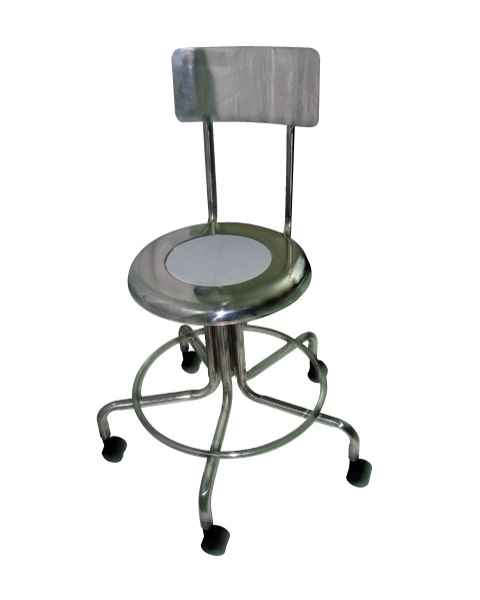 MRI Non-Magnetic Adjustable Height Stainless Steel Stool with Backrest & Dual Wheel Casters