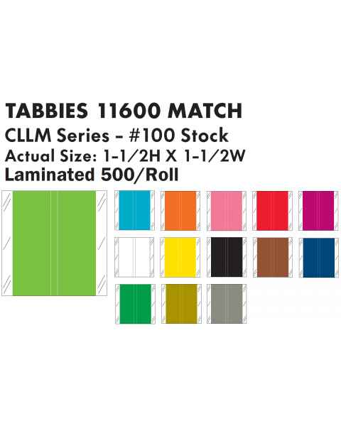 "Tabbies 11600 Match CLLM Series Solid Color Roll Labels - 1 1/2""H x 1 1/2""W"