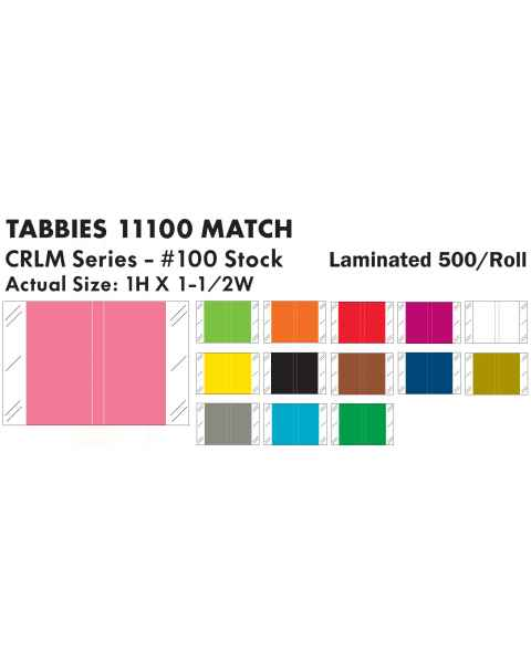 "Tabbies 11100 Match CRLM Series Solid Color Roll Labels - 1""H x 1 1/2""W"