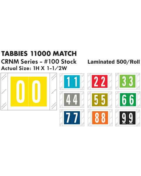 "Tabbies 11000 Match CRNM Series Numeric Roll Labels with Skirt - 1""H x 1 1/2""W"