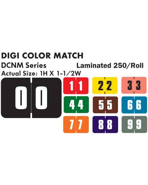 "Digi Color Match DCNM Series Numeric Color Code Roll Labels - 1""H x 1 1/2""W"