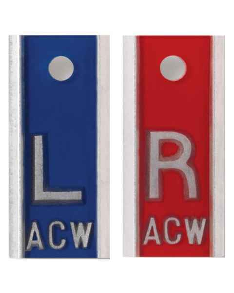 "Aluminum Markers - 1/2"" L & R - With Initials"