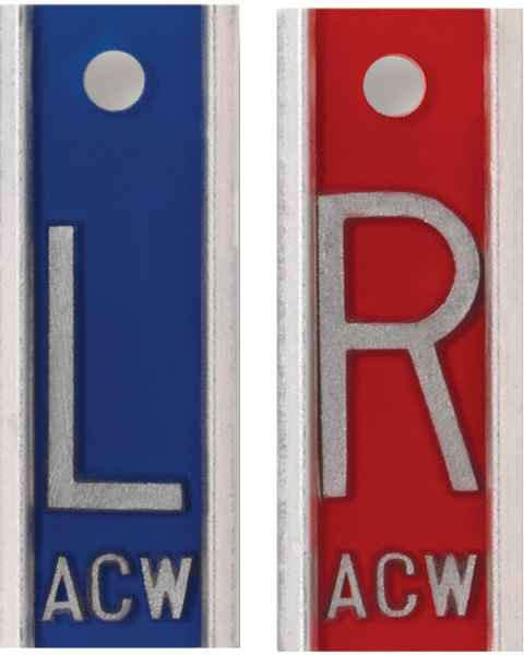 "Aluminum Markers - 1"" L & R - With Initials"