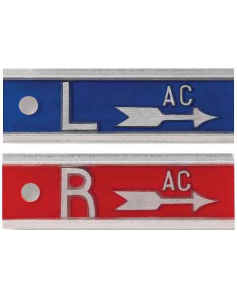 """Aluminum Markers - 1"""" Arrow - 1/2"""" L & R - With Initials"""
