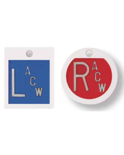 "Embedded Plastic Markers - 5/8"" Square ""L"" and Round ""R"" Lead-Free 1 to 3 Initials"