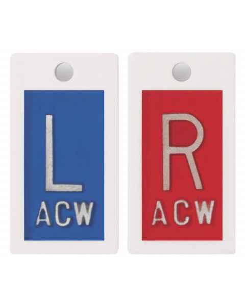 "Embedded Plastic Markers - 5/8"" ""L"" & ""R"" Lead-Free 1 to 3 Initials"