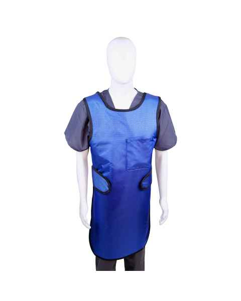 Techno-Aide 0.5mm Lightweight Lead EZ Comfort-Flex Front Apron with Hook & Loop Closure in Sapphire Reinforced Nylon with Black Binding