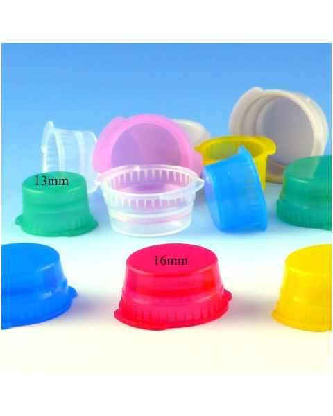13mm Snap Caps for Vacuum and Test Tubes - Polyethylene (PE) - Double Thumb Tab