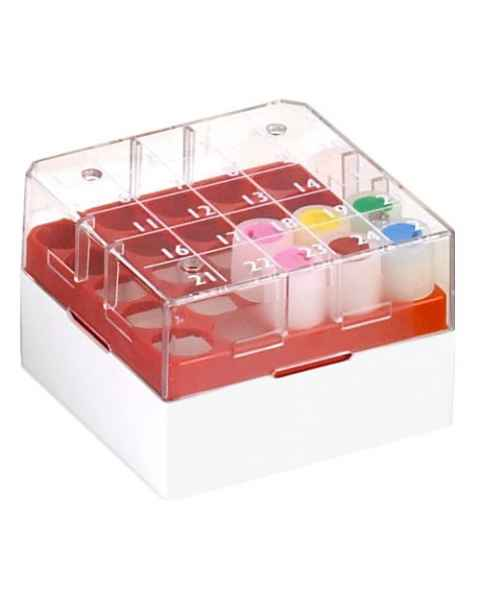 BioBox Storage Box with Transparent Lid for 1.0mL and 2.0mL CryoClear Vials - 25-Place (5x5 Format)