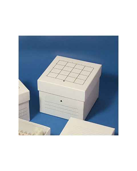 Cardboard Freezer Storage Box for 50mL Centrifuge Tubes - 16-Place (4x4 Format) - White