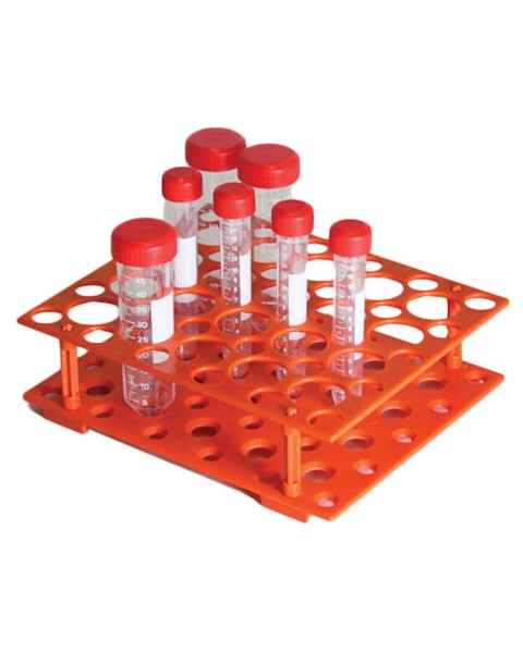 50-Place Rack for 15mL and 50mL Centrifuge Tubes - ABS - Orange