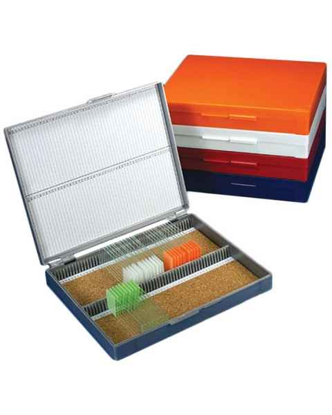 Slide Storage Box for 100 Microscope Slides - Cork Lined