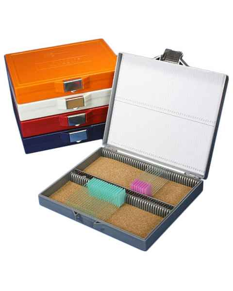 Slide Storage Box for 100 Microscope Slides - Cork Lined - Stainless Steel Lock