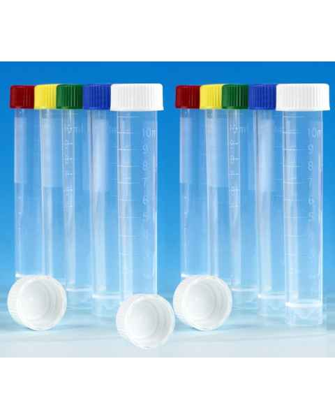 Transport Tubes 10mL - Self-Standing Conical Bottom with Screw Cap - Polypropylene