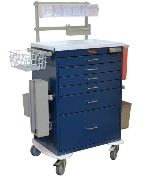 Classic Line Anesthesia Workstation Tall Six Drawer -  Deluxe Package with Electronic Lock