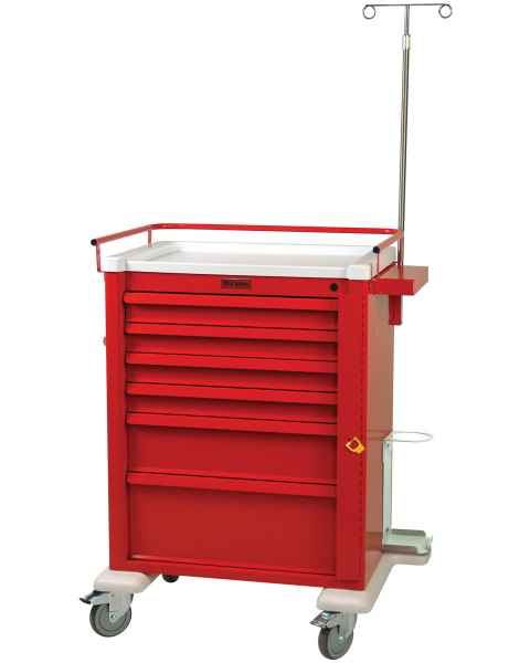 Universal Line Aluminum Crash Cart Six Drawer - Emergency Accessory Package with Breakaway Lock