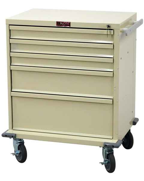 Harloff V24-5K V-Series Treatment and Procedure Cart Five Drawer with Key Lock