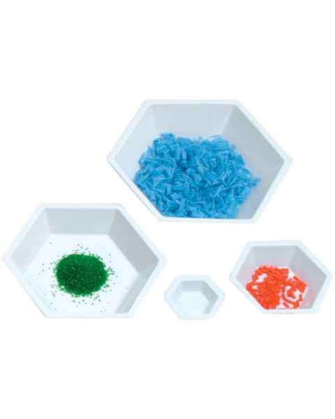 White Hexagonal Weighing Boats - Antistatic Material
