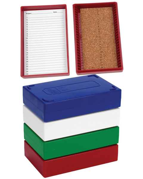 25-Place Cork-Lined Microscope Slide Boxes