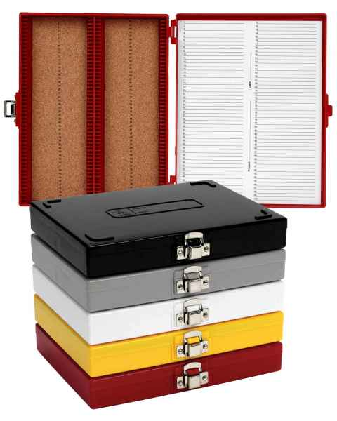 100-Place Cork-Lined Microscope Slide Boxes