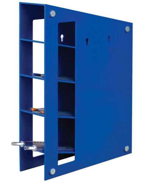 Magnetized Blue ABS Manual Pipette Rack With Angled Four Shelf Compartments