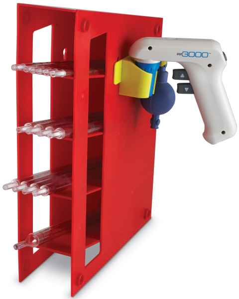 ABS Manual Pipet Rack With Angled Four Shelf Compartments Red