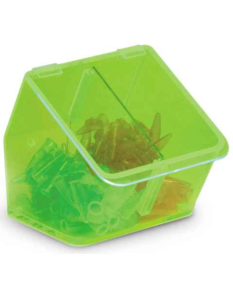 Acrylic Benchtop Dispensing Bin Dual Compartment With Lid - Neon Green
