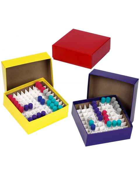 "Cardboard Cryogenic Vial Color Box & Lid - 2"" Box Height - Assorted Colors Pack"