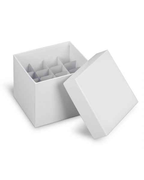 HS2860M Cardboard Cryogenic Tube Storage Box & Lid with HS2860P Partitions (4x4 array, 16 wells, 29.5mm well dia.)