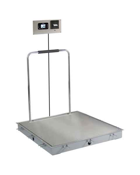 "Detecto Solace In-Floor Dialysis Scale with Hand Rail - 36"" x 36"" Stainless Steel Platform"