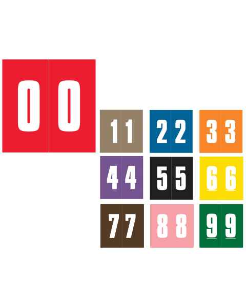 """IFC #CL3100 Match System #1 IFNM Series Numeric Roll Color Code Labels - 1 7/8""""H x 1 7/8""""W"""