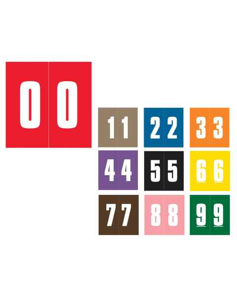 """IFC #CL2100 Match System #1 IFNP Series Numeric Roll Color Code Labels - 1 7/8""""H x 1 7/8""""W"""