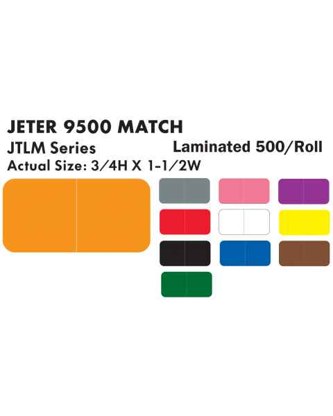 "Jeter 9500 Match JTLM Series Solid Color Roll Labels - 3/4""H x 1 1/2""W"