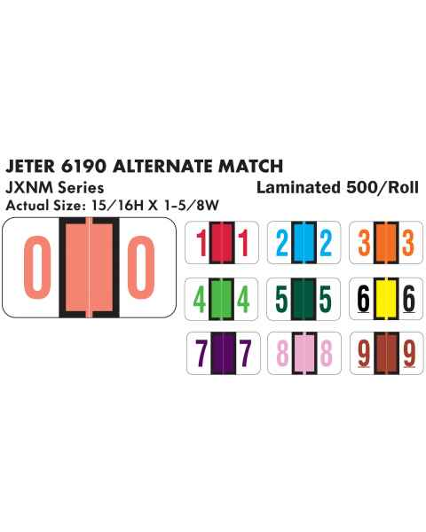 """Jeter 6190 Match JXNM Series Numeric Roll Color Code Labels - 15/16""""H x 1 5/8""""W"""