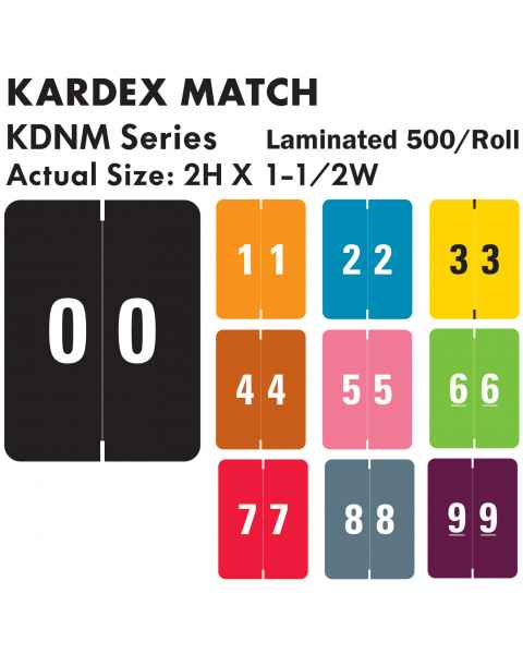 """Kardex Match KDNM Series Numeric Roll Color Code Labels - 2""""H x 1 1/2""""W"""