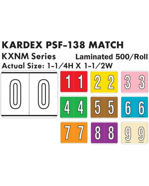 """Kardex PSF-138 Match KXNM Series Numeric Roll Color Code Labels - 1 1/4""""H x 1 1/2""""W"""