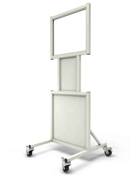 "Phillips Safety LB-2024-N Mobile Lead Barrier with Cutouts and Glass Window Size 20"" H x 24"" W"