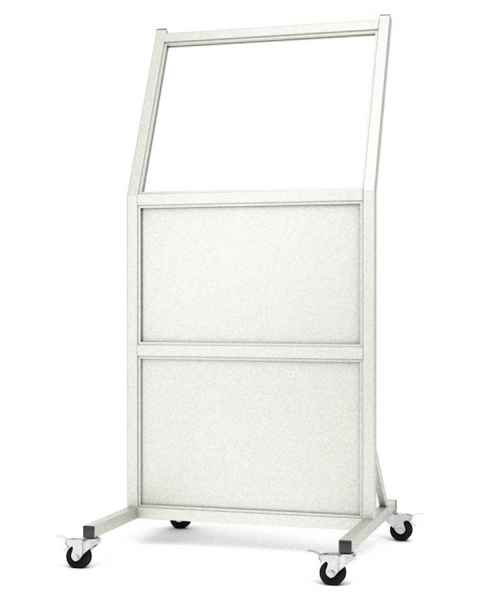 """Phillips Safety LB-2430-B Tilted Mobile Lead Barrier Glass Window Size 24"""" H x 30"""" W"""
