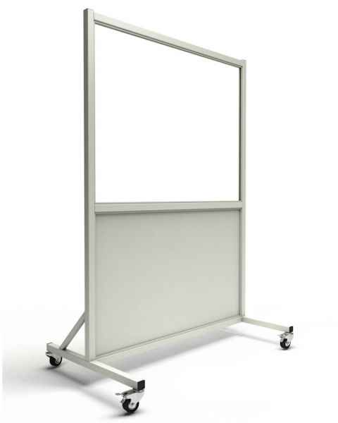 "MRI Safe Mobile Lead Barrier - Acrylic Window Size 30"" H x 48"" W"