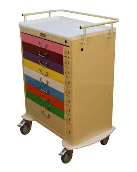 Harloff M3030B9-PED Classic Line Pediatric Emergency Cart 9 Drawer Individual Breakaway Locks & Color Coding on Entire Drawer Front