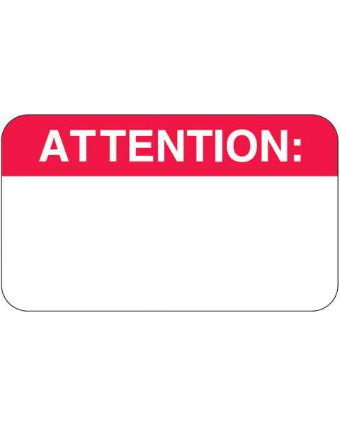 "ATTENTION Label - Size 1 1/2""W x 7/8""H"
